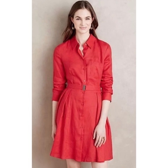 Anthropologie Dresses & Skirts - Anthropologie HD in Paris Laila Red Shirtdress